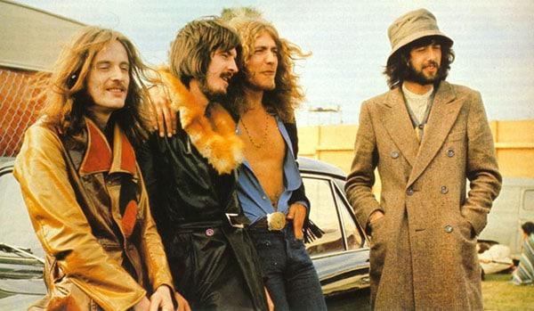Led Zeppelin band members Jimmy Page, Robert Plant, John Paul Jones and John Bonham.